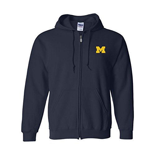 UGP Campus Apparel AZ07 - Michigan Wolverines Primary Logo Left Chest Full Zip Hoodie - X-Large - Navy University Full Zip Hoodie