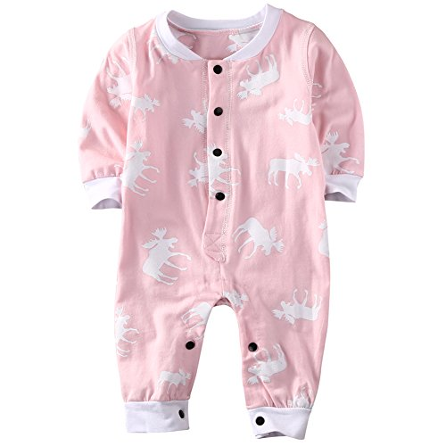 Baby Infant Girls Don't Moose With Me Long Sleeve Deer Bodysuit Romper Outfits (12-18 Months, Pink)
