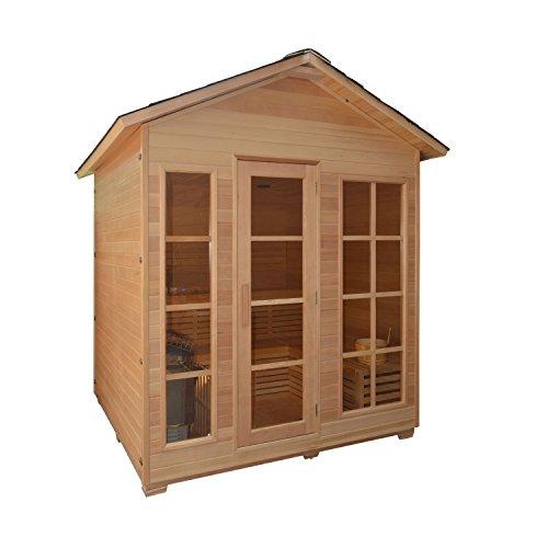 ALEKO STO6VAASA 6 Person Canadian Hemlock Wood Outdoor and Indoor Wet Dry Sauna with 6.0 KW ETL Electrical Heater by ALEKO