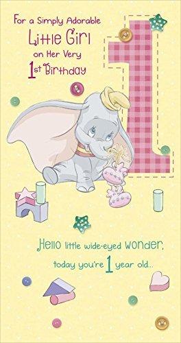 Disney Dumbo Little Girl Auf Ihrer Sehr 1 Geburtstag Karte Amazon