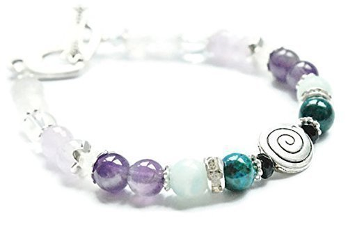 Baby Swirl Fertility and Pregnancy Bracelet Featuring Natural Gemstones Rose Quartz, Amethyst, Chrysocolla, Black Onyx, Moonstone, Amazonite, TTC gift, IUI Support, crystal healing
