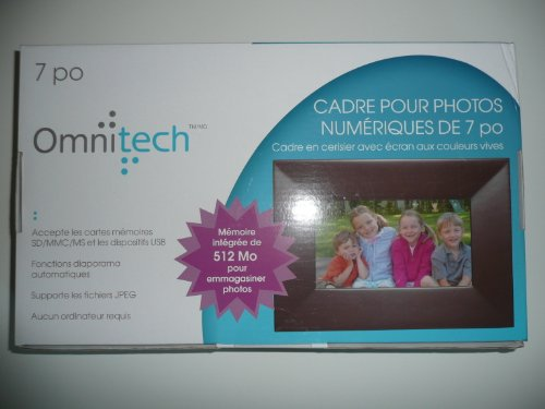 Cheap Omnitech 7 in digital photo frame 512MB built-in memory