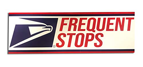 "Safety Supply Mart Frequent Stops Sticker for US Mail, 3"" x 12"" Sticker Decals, Rural Postal Carrier Sign, Self-Adhesive"