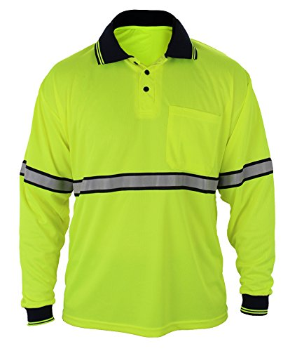 First Class Two Tone Polyester Polo Shirt with Reflective Stripes Yellow (2XL, Long (Two Tone Stripe Shirt)
