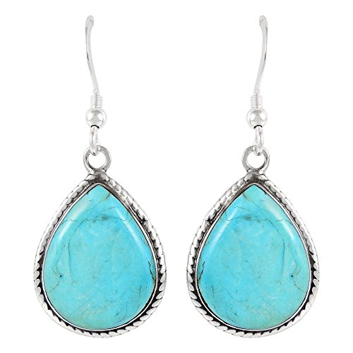 Turquoise Earrings Sterling Silver 925 Genuine Turquoise Jewelry (Select style) (Teardrop Dangles)