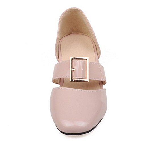 COOLCEPT Mujer Moda Sin Cordones Bombas Zapatos Cerrado Tacon Ancho Zapatos Rosado