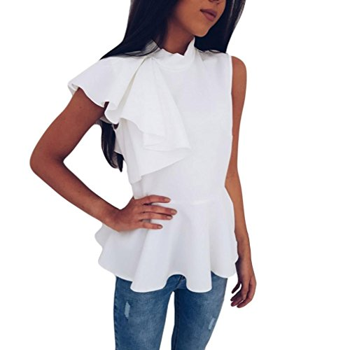 Price comparison product image Anxinke Women Summer Sleeveless Blouse Fashion Ruffles Sleeve Peplum Camisole Tank Top (XL,  White)
