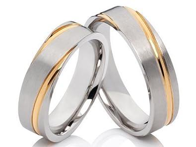 7493a422e3a3 2 anillos Pareja anillos Póster con anillos de compromiso anillos de  alianzas de acero inoxidable plateado-oro bicolor con grabado  Amazon.es   Joyería