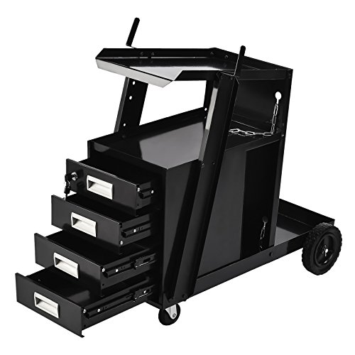 SUNCOO Welding Cart Welder Utility Cart Trolley Plasma Cutter Universal Storage for Tanks MIG –with Rear Wheels Swivel Casters,4-Drawers, 2 Safety Chains,100 Lb,Powder-Coat Black Finish