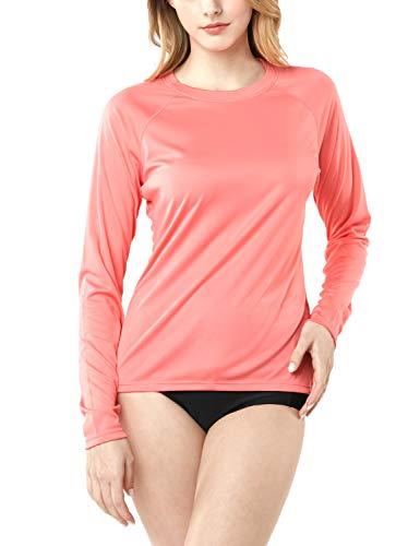 TSLA TM-FSS04-CPK_X-Small Women's UPF 50+ Crewneck Swimshirt Regular-Fit Long Sleeve Rashguard FSS04 - Crew Rash Guard Long Sleeve