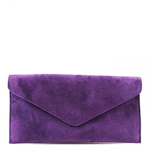 Clutch Girls Purse Bag Suede Leather Designer Purple Real Handbag Envelope Italian Bag wXz0YxT