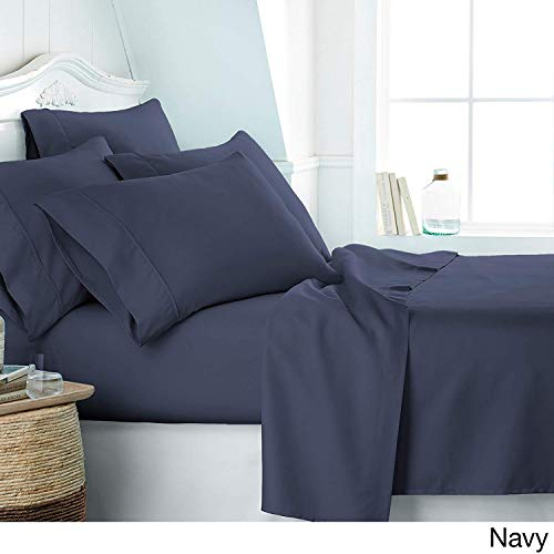 RELIABLE BEDDING Egyptian Cotton Sheets Set (4 Piece) 600 Thread Count - Bedspread Deep Pocket Premium Bedding Set, Luxury Bed Sheets for Hotel and Home Collection Soft Sateen Weave King-Navy Blue -