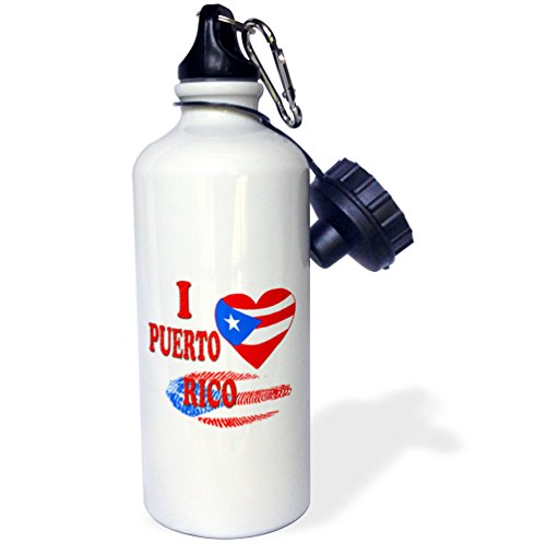 3dRose wb_216433_1 I Love Rico Puerto Rican Flag Popular Saying Sports Water Bottle, 21 oz, Multicolored