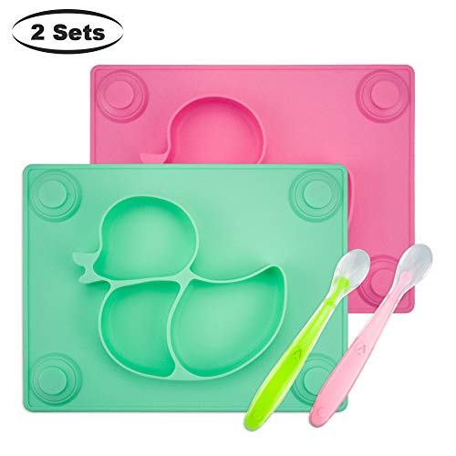 Baby Placemat with Baby Spoons(2 Sets) - 2X Silicone Baby Plates with Suction Cups Plus 2X Silicone Infant Feeding Spoons for Toddlers,Kids and Children (Pink&Green) (Childrens Spoon Silicone)