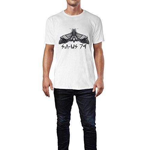 SINUS ART® Große Schmetterlingsmotte Schwarz Weiß Herren T-Shirts in Weiss Fun Shirt mit tollen Aufdruck