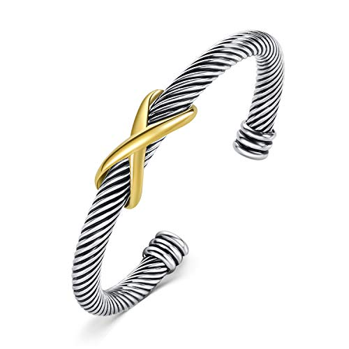 Cable Wire Designer Inspired Cuff Bracelet Bangle Stainless Steel Classic Retro Antique Twisted Infinity X Vintage Stack Gold Silver Jewelry Gift for Women Men Girls by TONY & SANDY