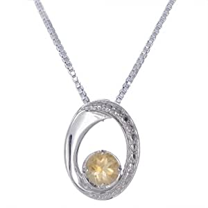 Vir Jewels Sterling Silver Citrine Pendant (1.20 CT) With 18 Inch Chain