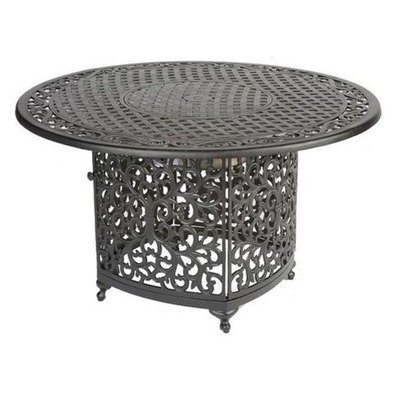 Meadow Decor 2671-45 Kingston Chat Table with Propane Burner, Black, (Aluminum 48