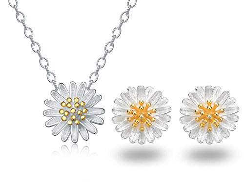 Daisy Necklace And Earrings Set Women Sterling Silver Plated Jewelry Daisy Necklace Earrings