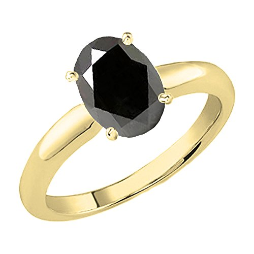 (Dazzlingrock Collection 18K 8X6 MM Oval Cut Black Sapphire Ladies Solitaire Bridal Engagement Ring, Yellow Gold, Size 10)