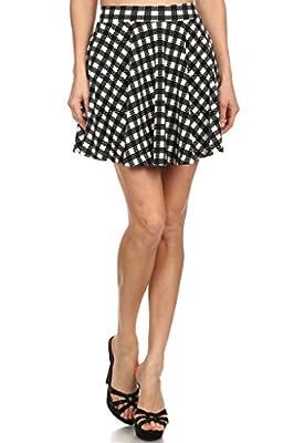 WHITE APPAREL Women's Basic Versatile Stretchy Flared Skater Mini Skirt