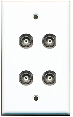 RiteAV 4 Port BNC Female/Female HD-SDI Jack Wall Plate - White