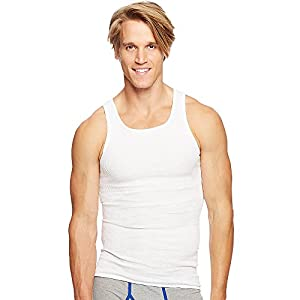 Hanes Men's Traditional Fit ComfortSoft Ribbed A-Shirt 2X-4X 3-Pack_White_3XL