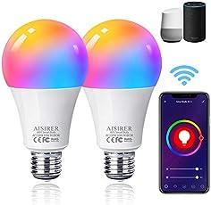 Bombilla LED Inteligente WiFi, AISIRER 10W RGBCW E27 Lámpara, Bombilla LED Luces Cálidas/Frías & RGB Funciona con Alexa...