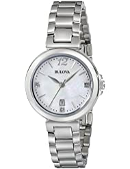 Bulova Womens 96P149 Diamond Gallery Analog Display Japanese Quartz White Watch