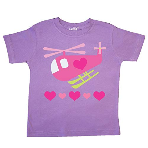 inktastic - Valentine Pink Heart Helicopter Toddler T-Shirt 4T Lavender -