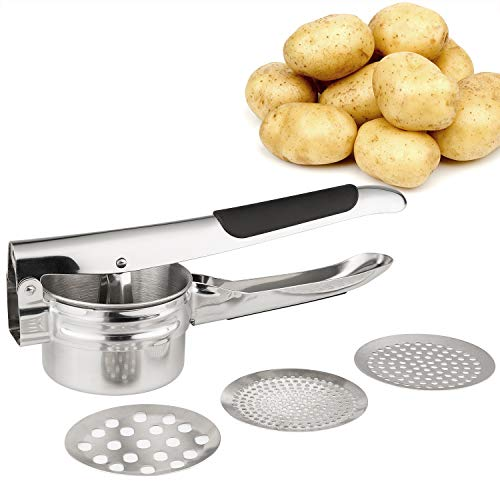 FUKTSYSM Potato Ricer - Stainless Steel Potato Masher Strong Handle Multifunctional Professional Potato Masher Food Press for Fruit Vegetable with 3 Pieces Replaceable Strainer (Fine Medium Coarse)