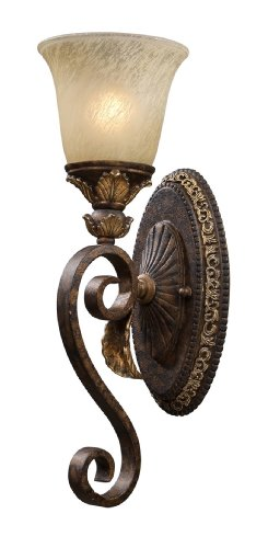 Elk 2150/1 Regency 1-Light 6-Inch Width by 18-Inch Height Wall Sconce In Burnt Bronze (Burnt Leaf Sconce Gold)