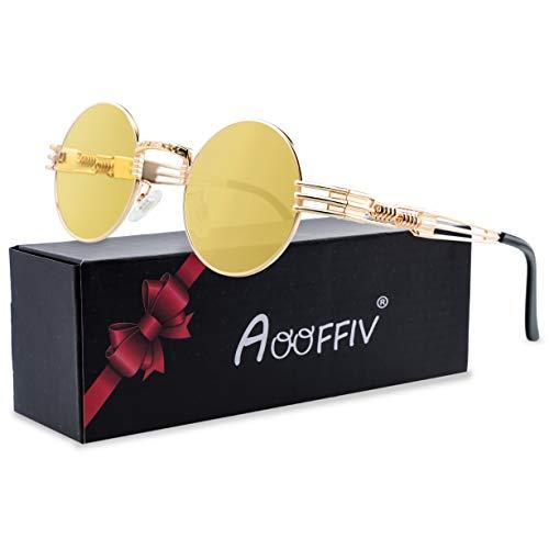 John Lennon Vintage Polarized Steampunk Round Sunglasses Gothic Metal Circle Frame (Round Gold Frame Yellow Lens Night Vision)