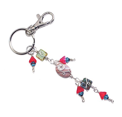 Crystal Sterling Silver Keychain (Boho Stone Crystal Keychain)