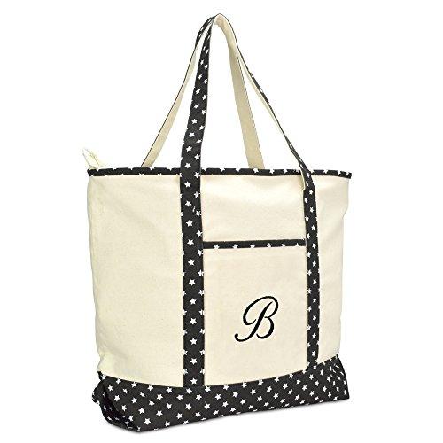DALIX Personalized Shopping Tote Bag Monogram Black Star Ballent Zippered Letter- B -