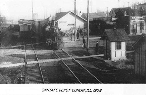 Eureka Illinois Santa Fe Railroad Depot Real Photo Vintage Postcard K100450