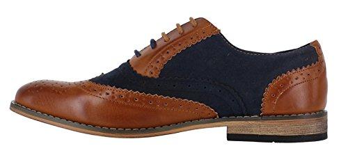 Classico Da Uomos Camoscio Sintetico Formale Casuale Scarpe Eleganti Brogue Con Lacci - Marroncino / Blu Navy, 40