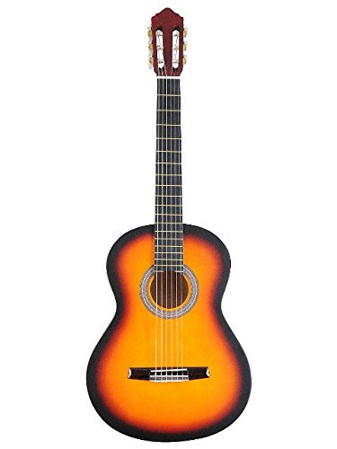 ADM 39 Inch Student Beginner Guitar - Sunburst Matte Nylon String Classical Guitar Package with Maple Guitar Neck, Rosewood Bridge, Rosewood Tailpiece with Accessories Set (Gig Bag, Strap, Strings, Pitch Pipe, Picks Included)