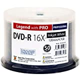 50 Spindle DVD-R Legend with PRO TY-JDC 16X 4.7GB 120Min (MID TYG03) White Inkjet Hub Printable Blank Recordable Disc