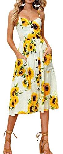 Down 1 Button Womens Fashion Spaghetti Dresses Floral Strap Sexy Jaycargogo nX1Aqq