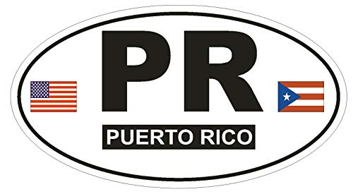 (Magnet PR Puerto Rico Oval Vinyl Magnetic Bumper Sticker Decal D764 Euro Oval with Flags 5