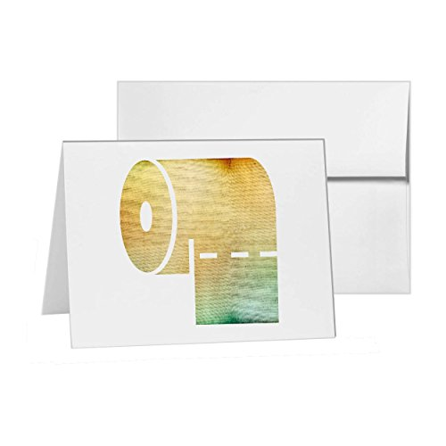 Paper Toilet Card (Toilet Paper Bathroom Tissue Roll Paper, Blank Card Invitation Pack, 15 cards at 4x6, with White Envelopes, Item 696234)