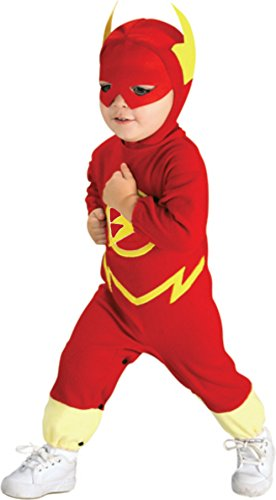 Disguise DC Comics Classic Flash Toddler Kids Bodysuit Role Play Halloween Costume (Toddler 12-24 (Glow In The Dark Skeleton Suit)