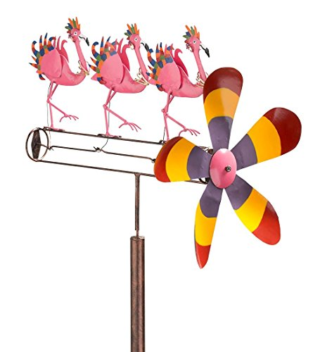 Outdoor Flamingo Chorus Line Whirligig Garden Wind Spinner Sculpture (Spinner Flamingo Wind)