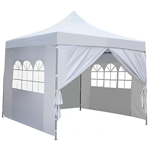 10×10 Ft Outdoor Pop Up Canopy Tent With 4 Removable Side Walls Instant Gazebos Shelters White