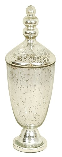 India House Vase with Lid 16 Inch Height x 6 Inch Width Mercury Glass Silver