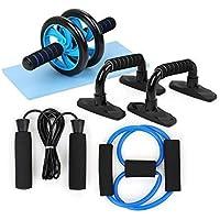 5-en-1 kit de rodillos rueda del AB, Primavera ejercitador abdominal de la rueda de prensa Pro con push-up barras de saltar la cuerda y la rodillera de equipos portátiles for el hogar Ejercicio fuerza