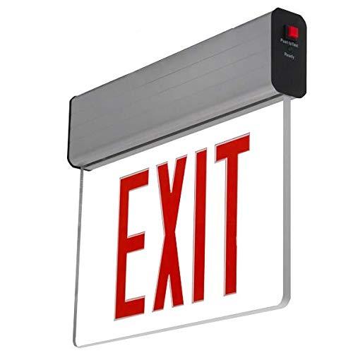 LFI Lights - UL Certified - Hardwired Red LED Edge Lit Exit Sign Light - Surface Mount Battery Backup - ELSMR ()