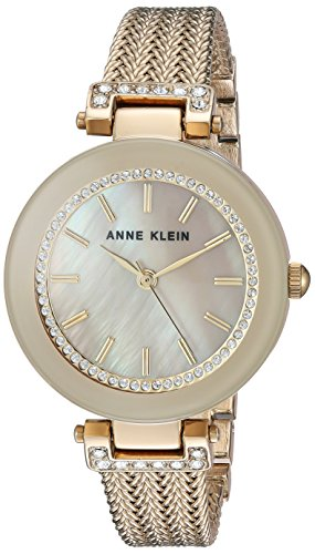 Anne Klein Women's AK/1906TMGB Swarovski Crystal Accented Gold-Tone Mesh Bracelet Watch (Tan Mother Of Pearl)
