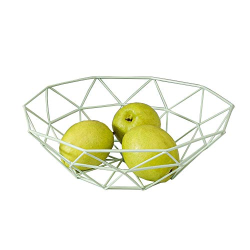Fashion Creative Large Iron Mesh Woven Fruit Basket Fruit Bowl Office Home Table Art Disply Tray Holder Stand Serving Metal Banana Orange Storage Container Bread Basket SnacksRack (Green)